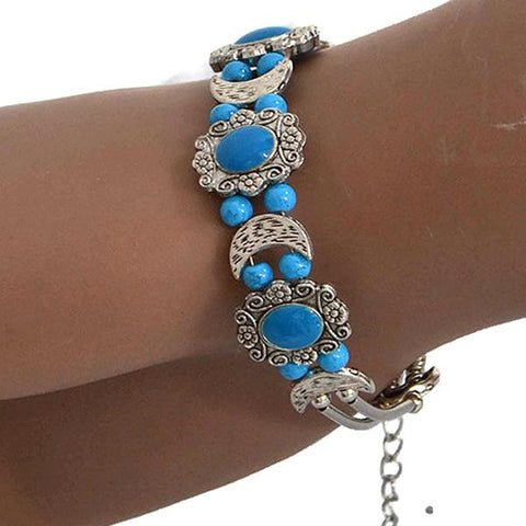 Beaded Bracelets Tibetan Silver Moon Charm Bracelet Wear With Love