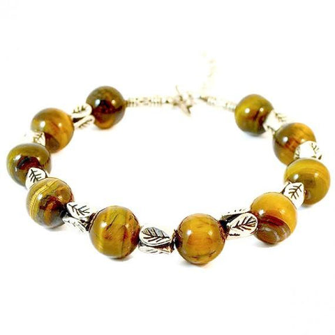 Beaded Bracelets Tibetan Silver Tiger Eye Stone Bracelet Wear With Love