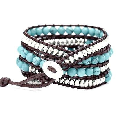 Beaded Bracelets Turquoise Silver Wrap Bracelet Wear With Love