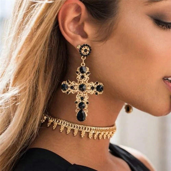 Large Crucifix Statement Earrings