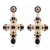 Large Statement Oversized Gold Crucifix Cross Black Pearl Earrings