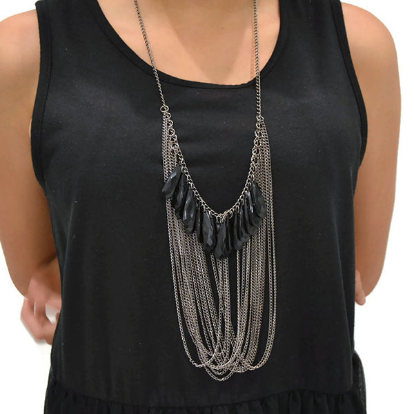 Antique Silver Drape Multi Chain Necklace