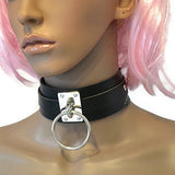 black leather ring choker