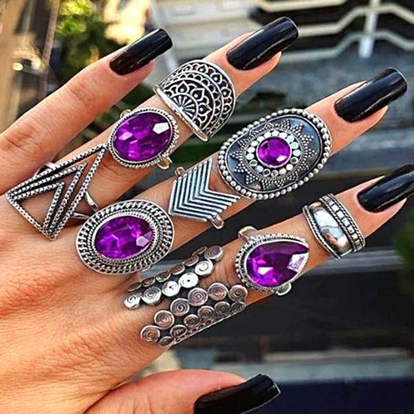 bohemian stone stacking rings set