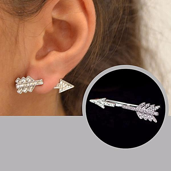 Shooting Arrow Ear Jacket Stud Earring
