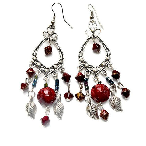 Chanderlier/drop Earrings Antique Silver Bohemian Tassel Festival Wear With Love