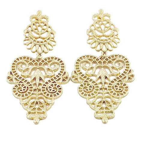 Chanderlier/drop Earrings Art Deco Filigree Drop Wear With Love
