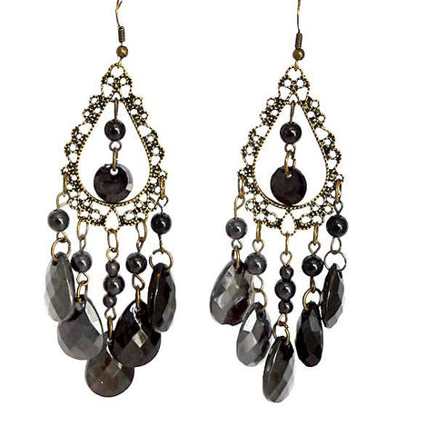 Chanderlier/drop Earrings Black Beaded Chandelier Wear With Love