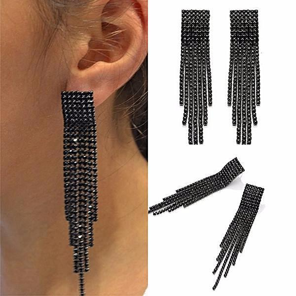 Chanderlier/drop Earrings Black Crystal Tassel Drop Wear With Love
