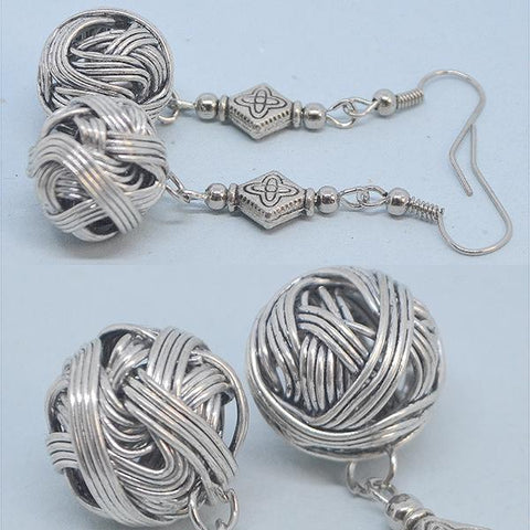 Chanderlier/drop Earrings Bohemian Knotted Round Ball Tibetan Silver Wear With Love