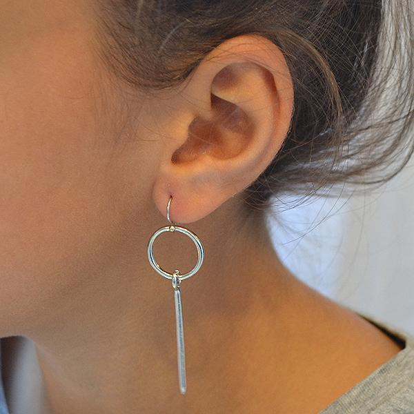 Chanderlier/drop Earrings Circle & Stick Silver Wear With Love