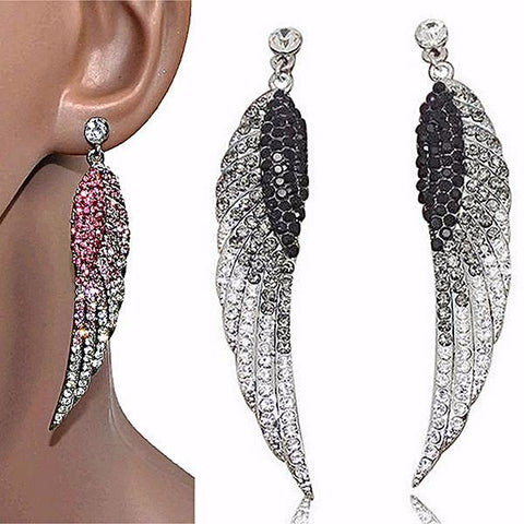 Chanderlier/drop Earrings Crystal Large Statement Feather Wear With Love