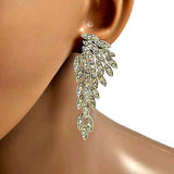 Chanderlier/drop Earrings Crystal Statement Set Long Feather Wear With Love