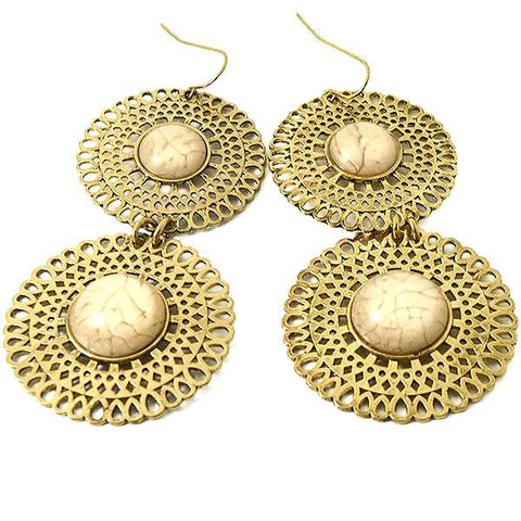 Chanderlier/drop Earrings Festival Filigree Carved Disc Wear With Love