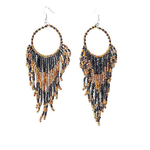 Chanderlier/drop Earrings Festival Fully Beaded Hoop Wear With Love