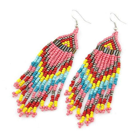 Chanderlier/drop Earrings Festival Summer Beaded Wear With Love