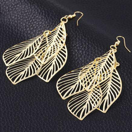Chanderlier/drop Earrings Filigree Four Leaf Wear With Love