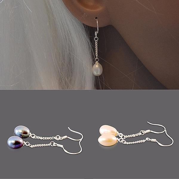 Chanderlier/drop Earrings Freshwater Pearl 925 Silver Drop Wear With Love