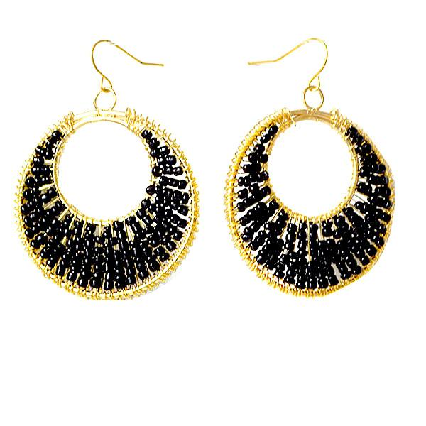 Chanderlier/drop Earrings Gold & Black Beaded Disc Wear With Love