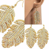 Chanderlier/drop Earrings Gold Embellished Feather Crystal Wear With Love