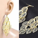 Chanderlier/drop Earrings Gold Leaf Filigree Wear With Love
