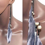 Chanderlier/drop Earrings Grey Long Festival Feather & Pearl Wear With Love