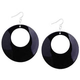 Chanderlier/drop Earrings Mother Of Pearl Shell Black Disc Wear With Love
