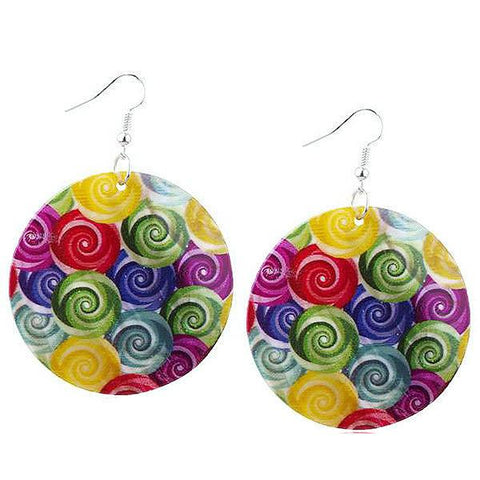 Chanderlier/drop Earrings Mother Of Pearl Shell Swirl Disc Earings Wear With Love