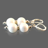 Chanderlier/drop Earrings Pure White Akoya Pearl Double Drop Silver Wear With Love