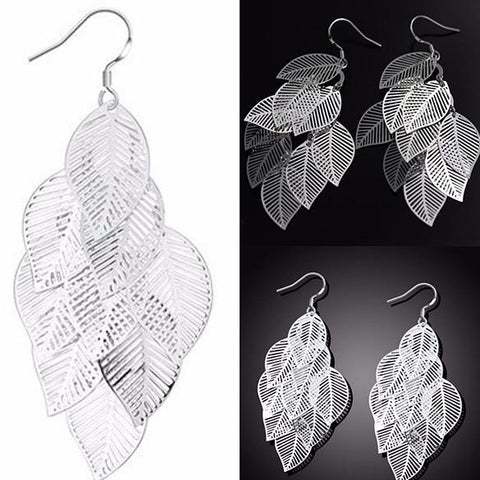 Chanderlier/drop Earrings Silver 925 Filigree Cluster Leaf  Statement Wear With Love