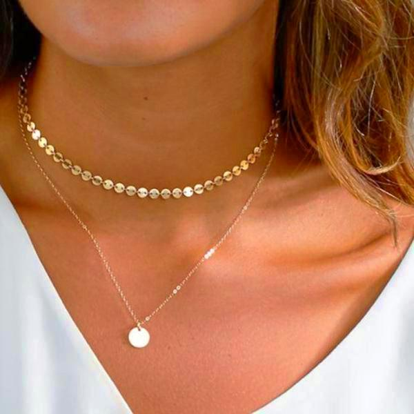 gold sequin and coin disc necklace