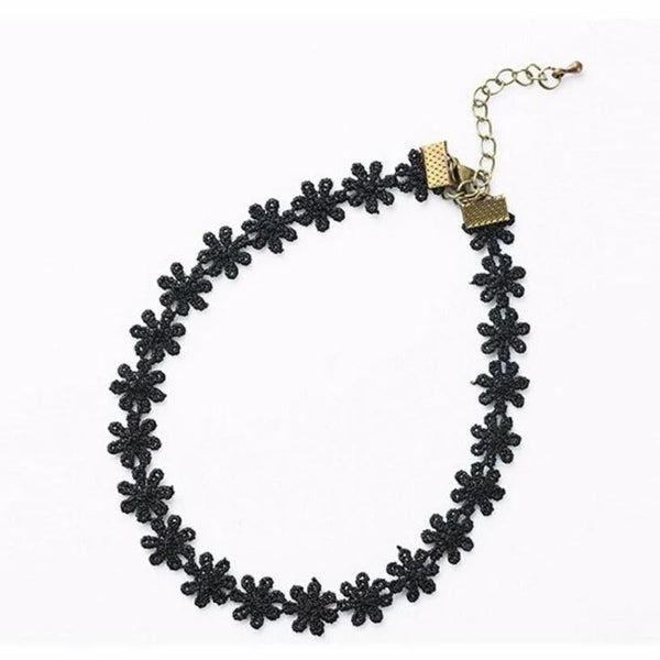 Black Lace Daisy Chain Choker Necklace