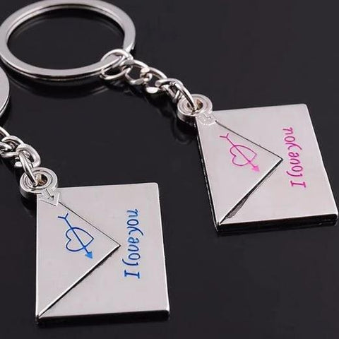 envelope lovers heart key ring