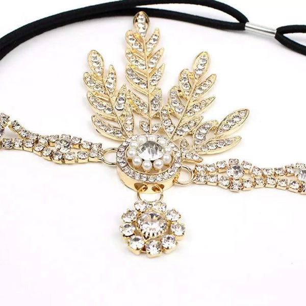 Burlesque 1950s Feather And Pearl Rhinestone Headband