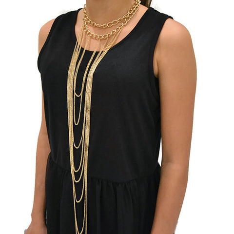 Bijoux Gold Choker Multi Chain necklace
