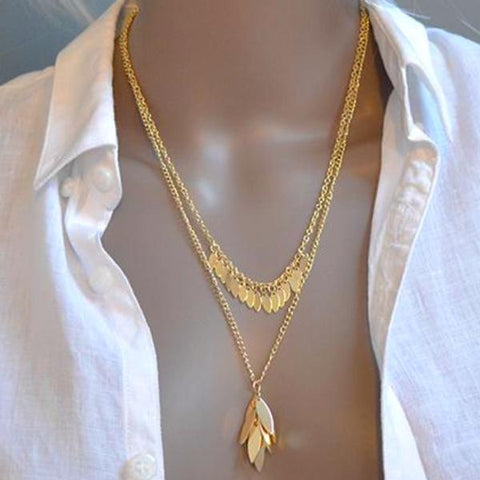 Gold Cluster Leaf Double Chain Necklace