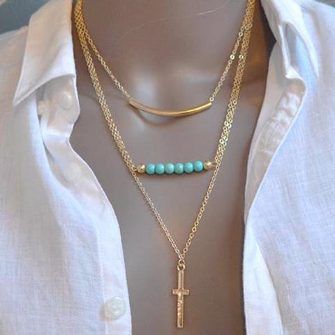 Beaded Cross Lariat Charm Multi Chain Necklace
