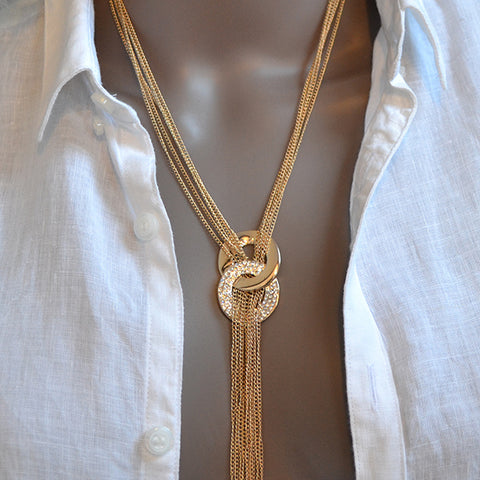 Double Circles Gold Crystal Long Tassel Necklace