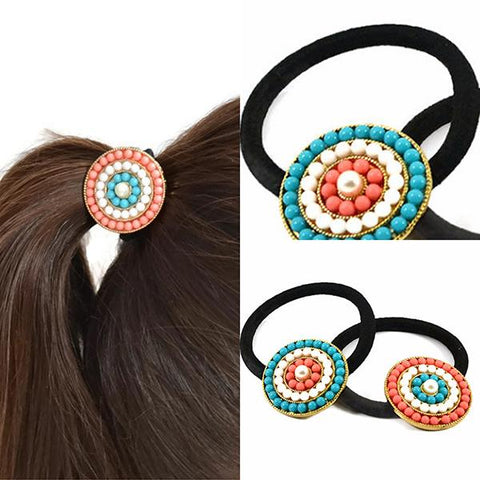 Hair Accesories Beaded Disc Bobble Band Wear With Love