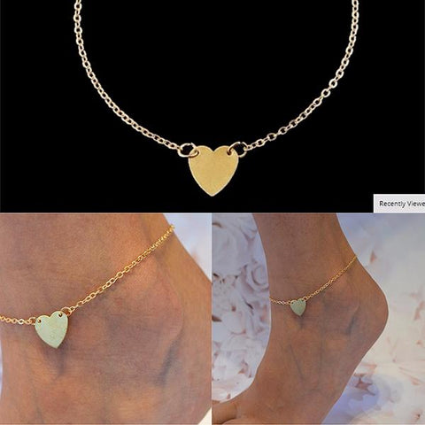 Hair Accesories Bijoux Gold Heart Chain Foot Anklet Wear With Love