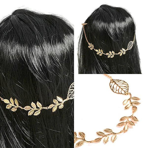 Hair Accesories Bohemian Autumn Leaf Gold Double Chain Slides Wear With Love