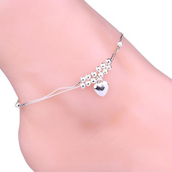 Hair Accesories Boho Silver Plated Heart Beaded Foot Anklet Wear With Love