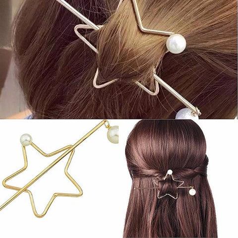 Hair Accesories Boho Star & Pearl Pin Ponytail Bun Holder Wear With Love