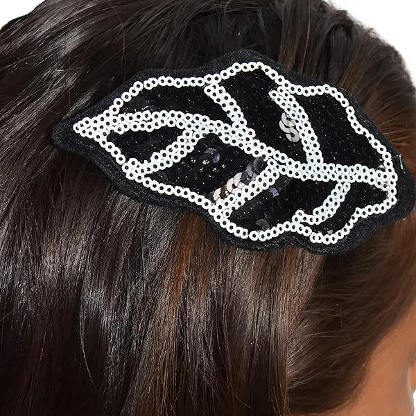Hair Accesories Burlesque Large Black And White Sequin Leaf Slide Wear With Love
