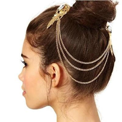 Hair Accesories Crystal Double Feather Gold Chain Slides Wear With Love