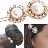 Hair Accesories Double Pearl Rhinestone Slide Wear With Love