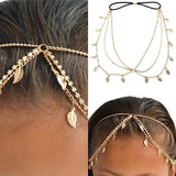 Hair Accesories Festival Gold Metal Leaf Chain Headband Wear With Love