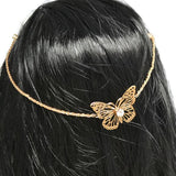 Hair Accesories Gold Butterfly Chain Double Slides Wear With Love