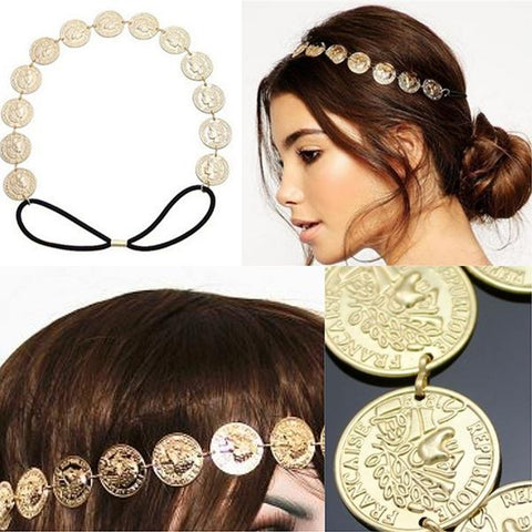 Hair Accesories Gold Coin Chain Headband Wear With Love