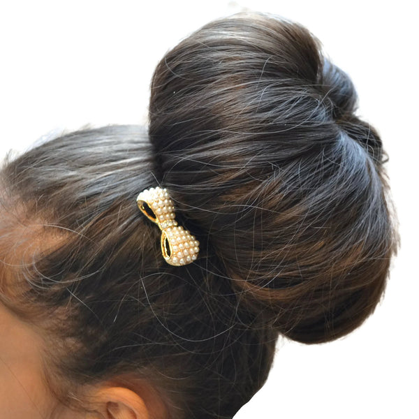 Hair Accesories Gold Pearl Bow Comb Wear With Love